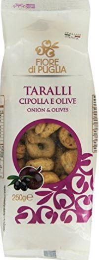 Fiore di Puglia Taralli alla cipolla e olive - italienische Knabberei mit Zwiebeln & Oliven, 250g