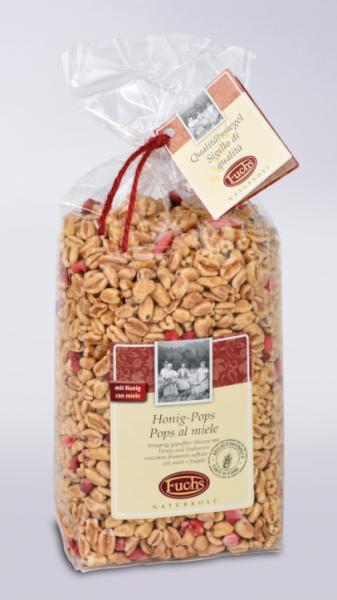 Fuchs Naturkost Honig Pops - gepuffter Weizen mit Honig und Erdbeeren, 250g