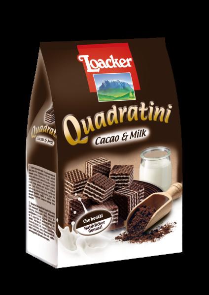 Loacker Quadratini Cacao&Milk 250g - die orginelle Geschmackskombination in Würfelform