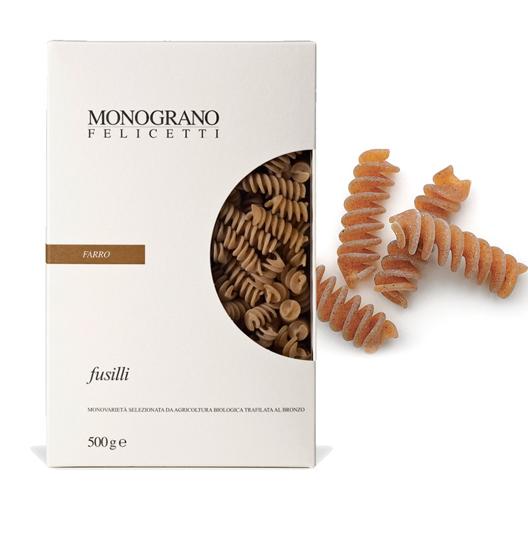 Monograno Felicetti Dinkel Fusilli Farro - kurze Spiralnudeln aus Dinkelmehl, 500g