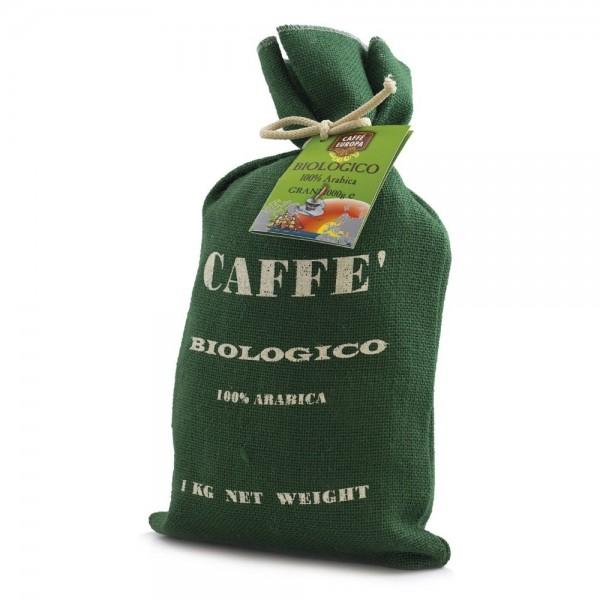 Kaffee Bio, 100% Arabica, Kaffeebohnen, 1 kg in Jutesack - Caffè Europa