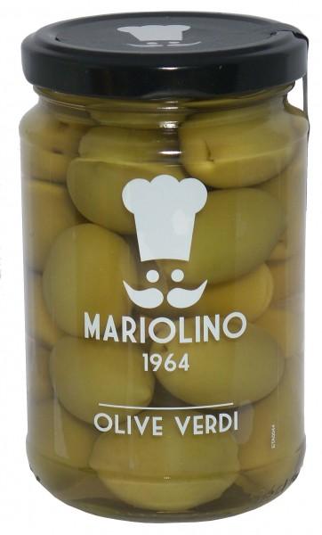 Mariolino Grüne Oliven - Grüne Oliven mit Kern in Salzwasser, 314 ml