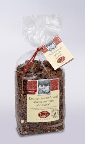 Fuchs Naturkost Knusper Schoko-Müsli - Müsli mit Haselnüssen & Schokolade, 350g