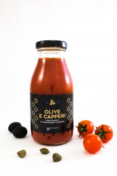 Fertige Kirschtomatensauce mit schwarzen Oliven und Kapern, Glas, 250 g - Komoosee