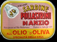 Sardine in olio d'oliva, barattolo da 100 g - Pollastrini