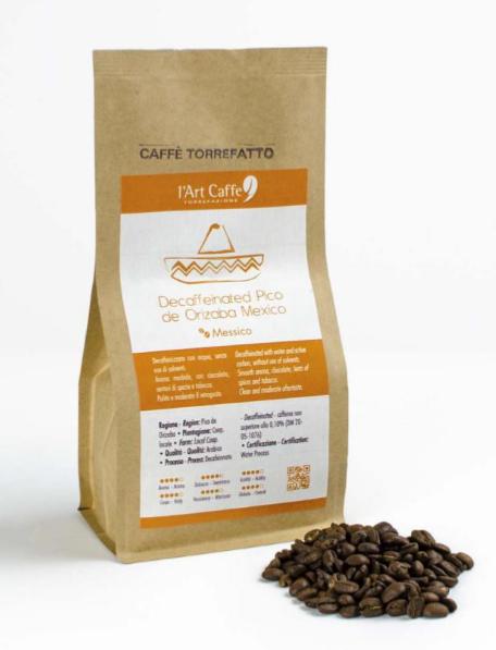 l' Art Caffè Torrefazione Pico de Orizaba - Entkoffeinierte gemahlene Bohnen, 250g oder 1Kg