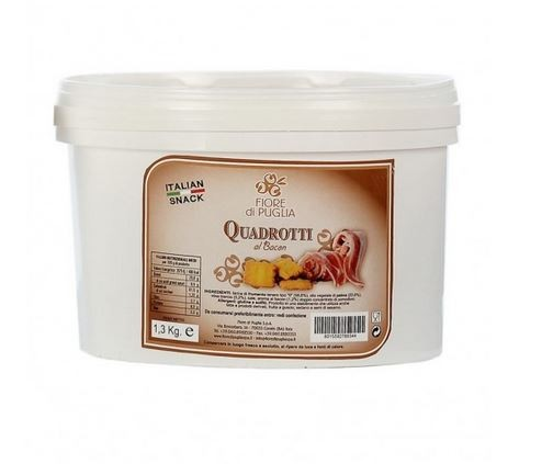 Quadrotti Gusto Bacon - leckerer Knabberspaß mit Schinkenspeck aus Italien, 1,3kg - Fiore di Puglia