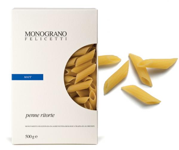 Monograno Felicetti Penne Ritorte BIO Matt - schnittige Nudeln aus Hartweizengrieß, 500g