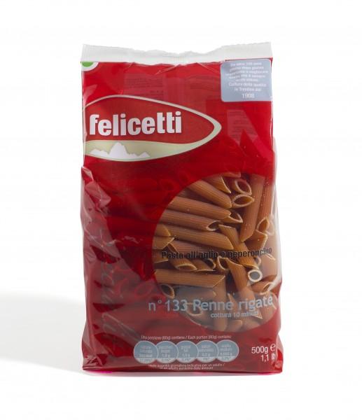 Felicetti Penne Rigate Aglio e Peperoncino - Knoblauch- und Chili-Nudeln aus Hartweizengrieß, 500g