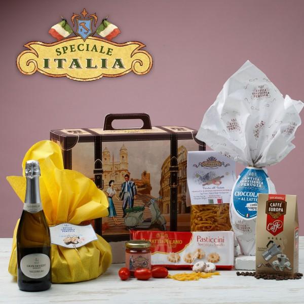 Viaggio di Pasqua, Koffer mit Lebensmittel u. Wein - Maestri Artigiani