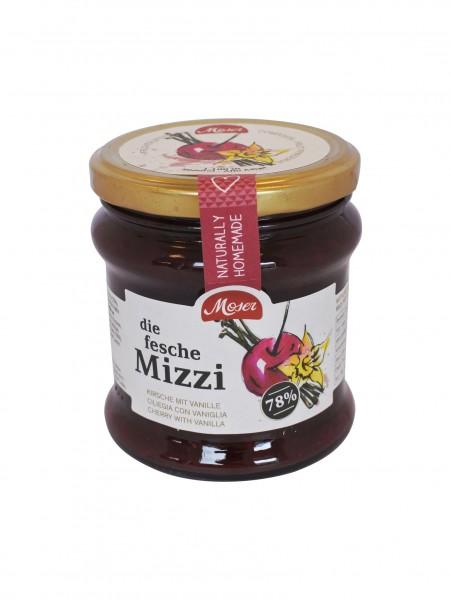 """Fruchtaufstrich """"die fesche Mizzi"""" - Kirsche- Vanille mind. 78% Frucht, 340ml - Moser KG Bäckerei"""
