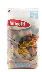 Felicetti Conchiglie Tricolore - dreifarbige Eiernudeln in Muschelform aus Hartweizengrieß, 500g