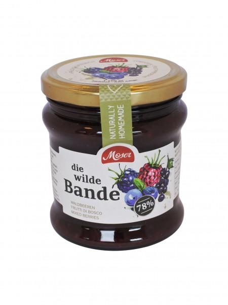 """Fruchtaufstrich """"die wilde Bande"""" - Waldfrüchte mind. 78% Frucht, 340 ml"""