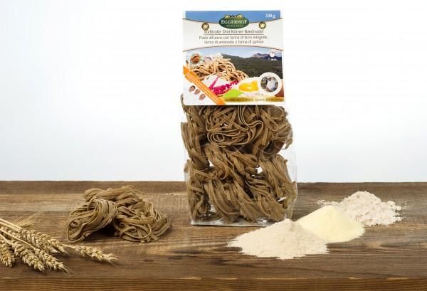 Eggerhof Dreikörnernudeln aus Südtirol - Eierbandnudeln aus Hartweizengrieß und Dinkel, 330g