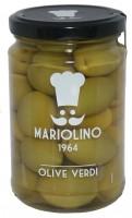 Grüne Oliven, mit Kern in Salzwasser, 314 ml - Mariolino