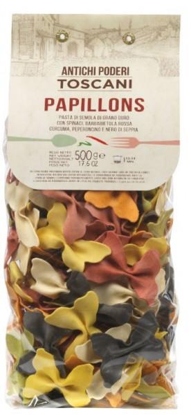 Antichi poderi bunte Papillons Nudeln - Maschennudeln in Trikolore Farben aus Italien, 500g