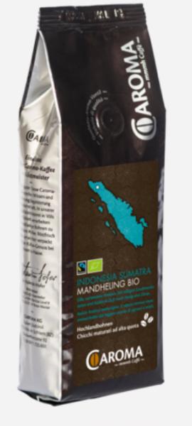 Caroma Kaffee Indonesia Sumatra Mandheling Bio - Sortenreiner Arabica Kaffee, 250 g, Ganze Bohne