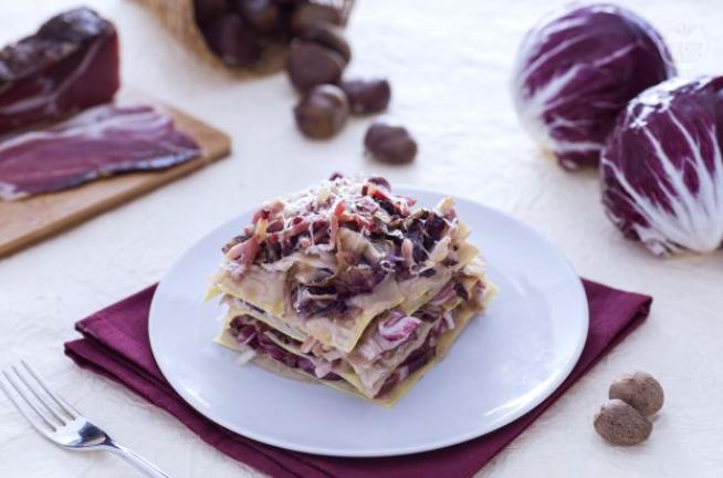 Felicetti-Lasagne-Blaetter-mit-Radicchio-Speck-und-Kastaniencreme