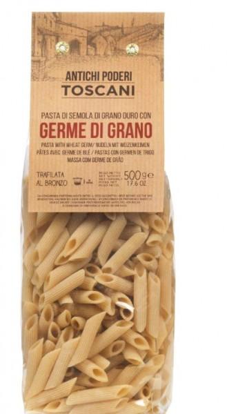 Penne mit Weizenkeimen, toskanische Nudelspezialität, 500g - Antichi poderi Toscani