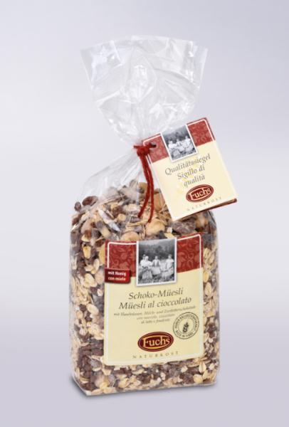 Fuchs Naturkost Schoko-Müsli - Müsli mit Haselnüssen, Milch- & Zartbitterschokolade, 375g