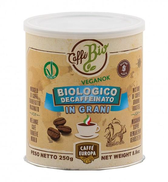 Koffeinfrei Bio-Kaffeebohnen, 100% Arabica, 250 g in Dose - Caffè Europa