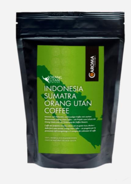 Caroma Kaffee Indonesia Sumatra Orang Utan - Orang Utan Schutzproject, 250 g, Ganze Bohnen