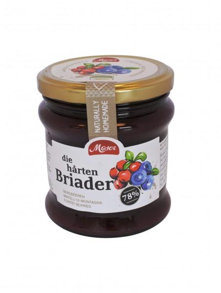"""Fruchtaufstrich """"die harten Briader"""" - Bergbeeren mind. 78% Frucht, 340ml - Moser KG Bäckerei"""