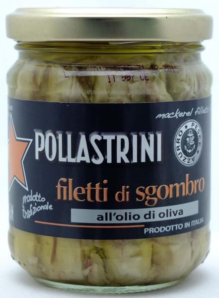 Pollastrini Makrelenfilet in Olivenöl - Eingelegte Makrelenfilets in Olivenöl, 200g