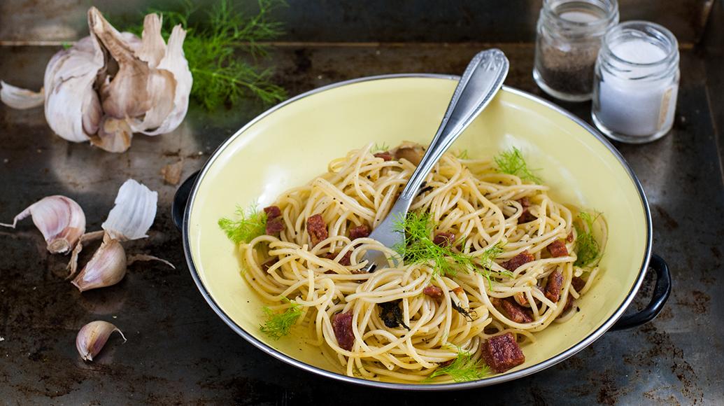 Rinner-Salami-Fenchel-mit-Spaghetti
