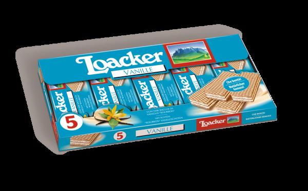 Loacker Vanille - Köstliche Waffeln mit Bourbon Vanille, 5 x 45g