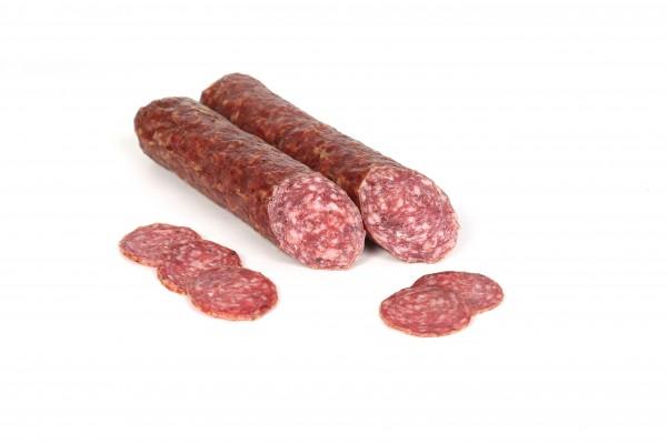 Rinner Gämsesalami aus Südtirol - Salami aus Schweine-und Gämsenfleisch vakumiert, ca.240g
