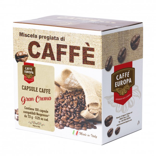 Miscela Gran Crema, capsule compatibili Nespresso, 100 pz. - Caffè Europa