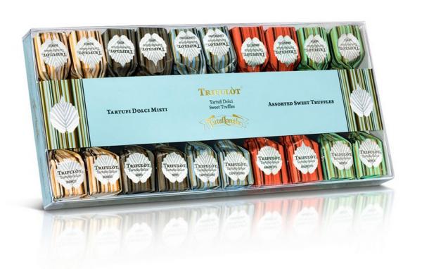 Tartuflanghe Trifulot - Trüffel-Box mit 5 verschiedenen Pralinen-Sorten zu je 4 Stück, 140g