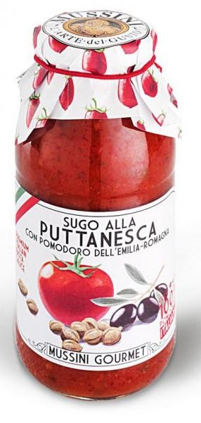 Mussini Sugo alla Puttanesca - typisch italienischer Sugo mit Oliven und Kapern, 500ml