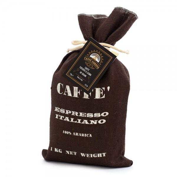 Holzröstung, Kaffeebohnen in Jutesack, 1kg, 100% Arabica-Mischung - Caffè Europa
