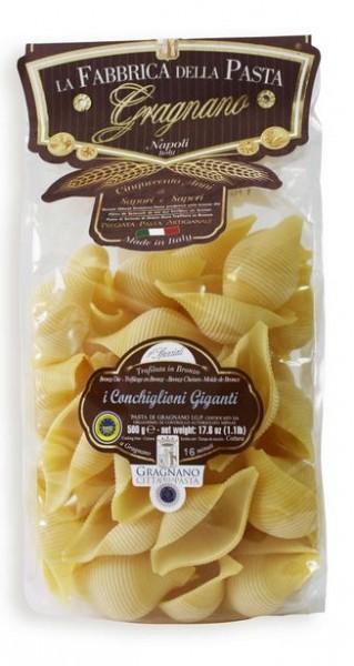 La Fabbrica della Pasta di Gragnano Conchiglioni IGP- leckere Muschelnudeln aus Neapel, 500g