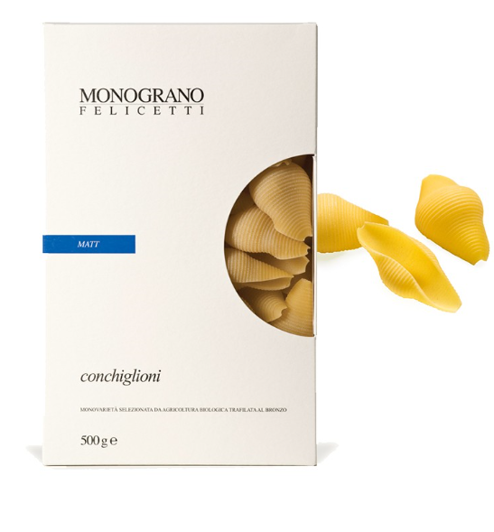 Monograno Felicetti Conchiglioni BIO Matt - große Muschelnudeln aus Hartweizengrieß, 500g
